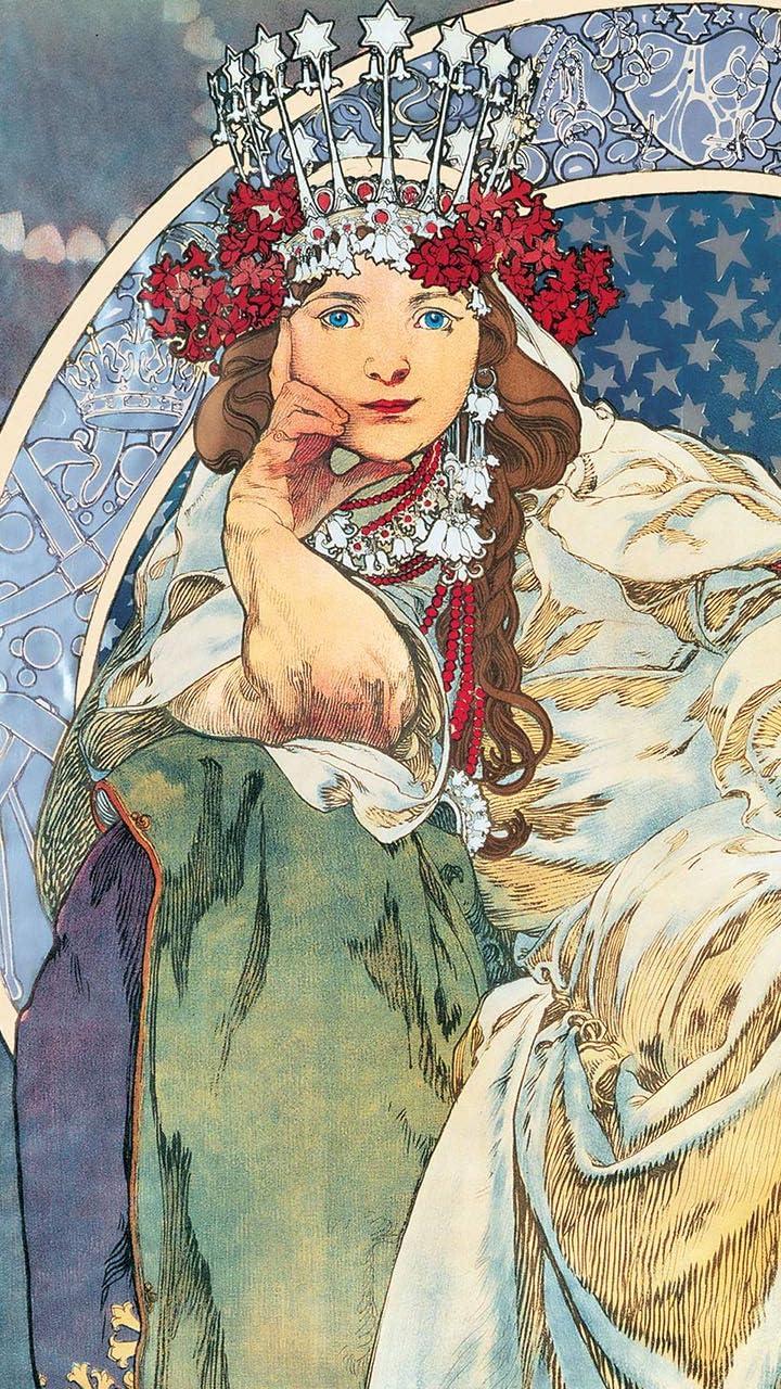 絵画 Hd 720 1280 壁紙 ミュシャ ヒヤシンス姫 その他 スマホ用画像137287