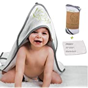 Bamboo Premium Baby Hooded Towel & Washcloth Set | Hands Free 100% Ultra Soft Organic, Antibacterial & Hypoallergenic | XL 35X35 inches for Boys and Girls, Baby, infant or Toddler by KoalaHug