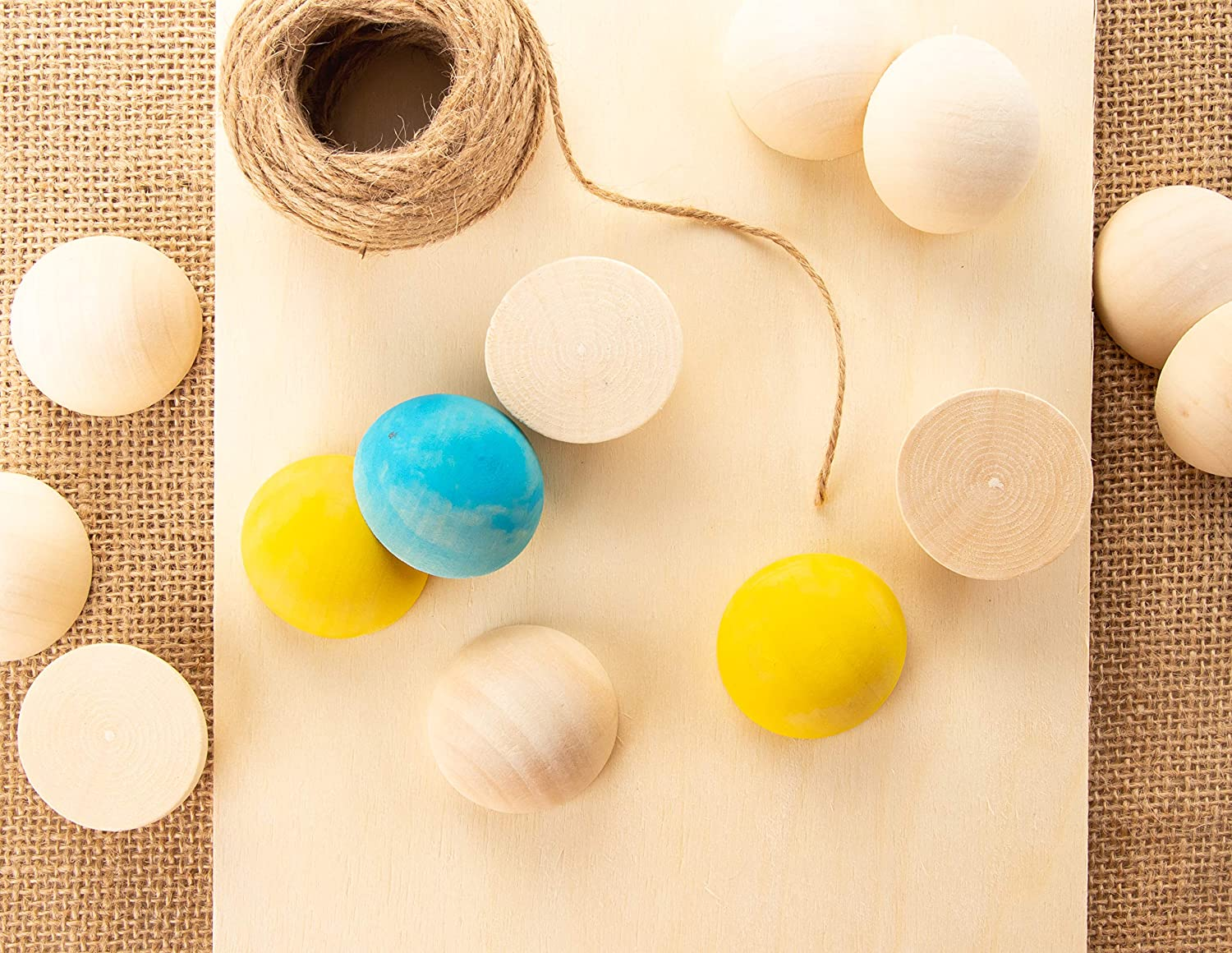 Half Craft Balls for DIY Projects Mini Hemisphere 30-Pack Unfinished Half Wooden Balls Kids Arts and Craft Supplies Split Wood Balls 1.5 Inches Diameter