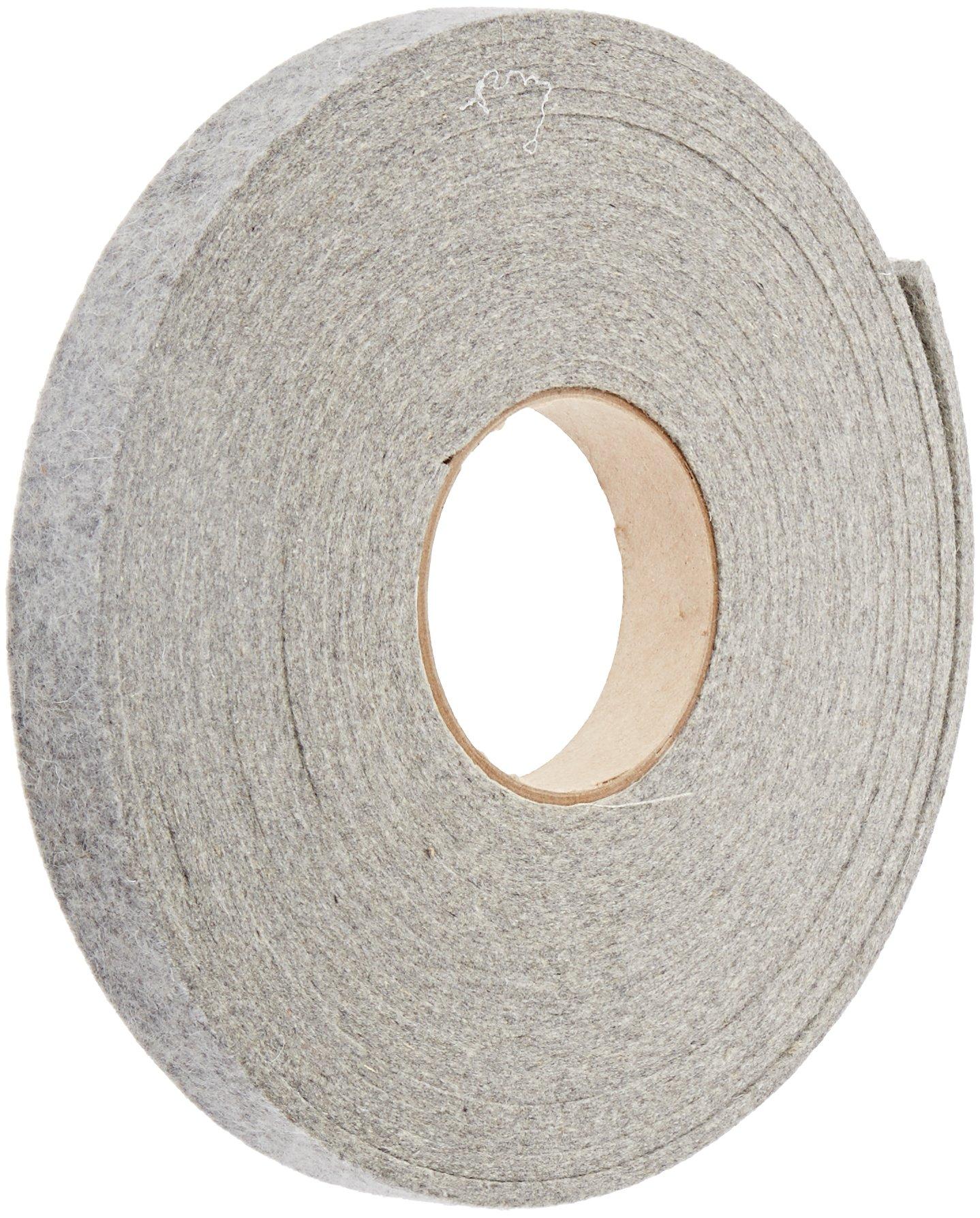 Grade F3 Pressed Wool Felt Strip, Gray, Meets SAE J314, 3/16'' Thickness, 1'' Width, 25' Length