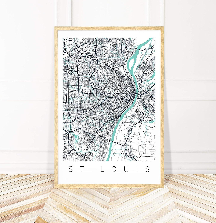 Amazon.com: St Louis Map Art - St Louis City Art Print - Map of St on