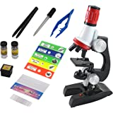 Inquisitive Minds Kids Beginner Toy Microscope Kit With Prepared Slides, LED, 100X, 400X and 1200X Magnification