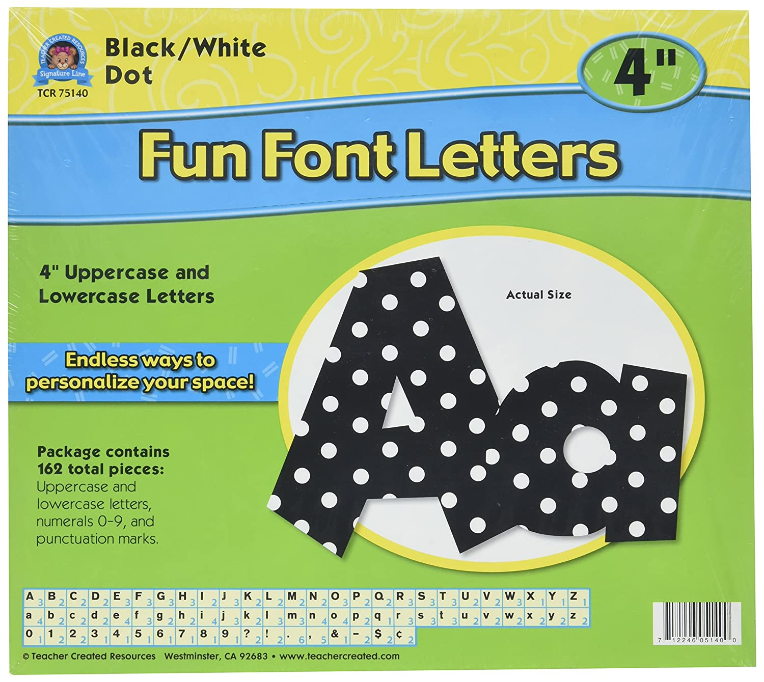 Teacher Created Resources 75140 Black/White Dot 4-Inch Fun Font Letters