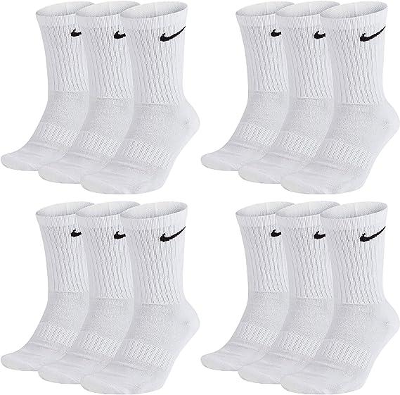 bala Producción Reembolso  Nike - Calcetines largos para hombre y mujer, 12 pares, talla 34, 36, 38,  40, 42, 44, 46, 48, 50, talla 46-50, código de color y color: A40, 12  pares, color blanco: Amazon.es: Ropa y accesorios