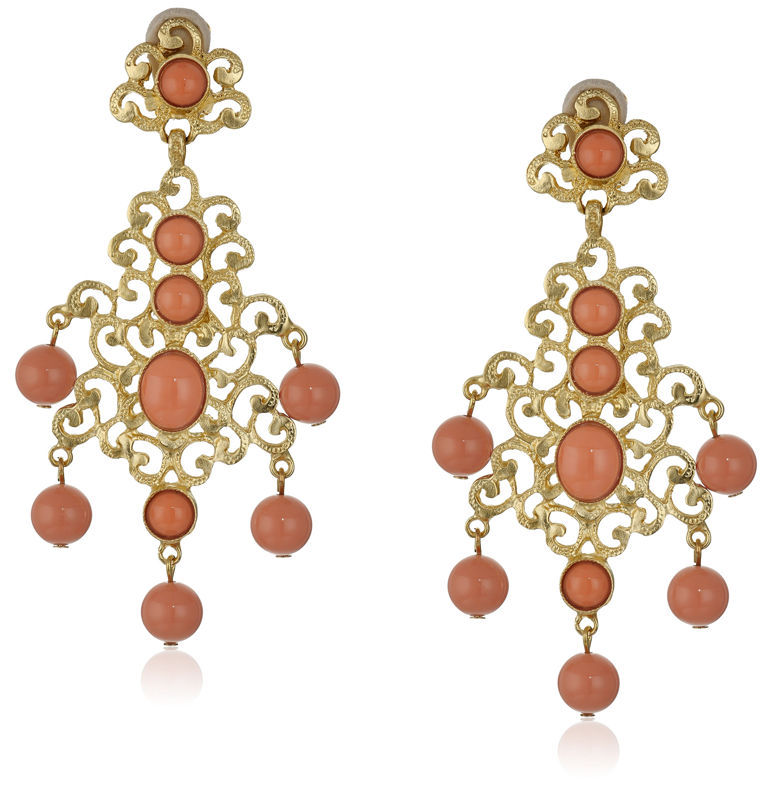 Kenneth Jay Lane Gold-Tone Filigree Earrings with Coral Drops