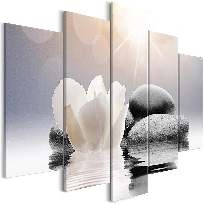 murando - Impression sur Toile Fleurs Pierre 100x50 cm - 5 Pieces - Images - Photo - Tableau - Motif Moderne - Décoration - tendu sur Chassis -Zen b-B-0267-b-m