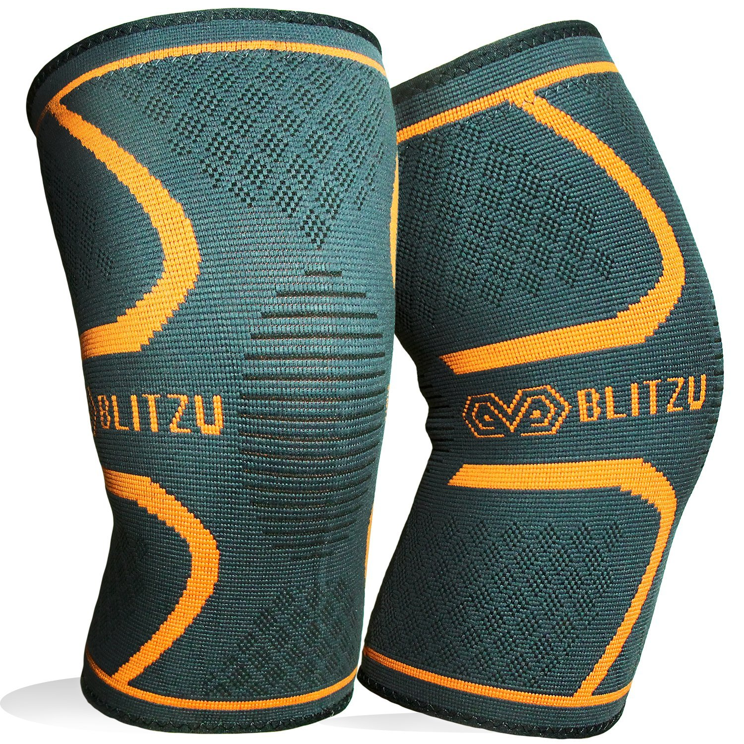 BLITZU Flex Plus Compression Knee Brace Joint Pain, ACL MCL Arthritis Relief Improve Circulation Support Running Gym Workout Recovery Best Sleeves Patella Stabilizer Pad