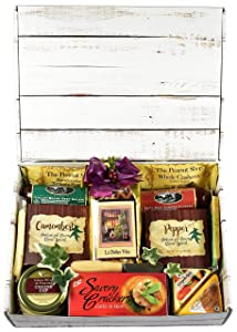 Gift Basket Village The Good Life Gourmet Care Package, Gift Box with Meat, Cheese, Crackers, Nuts, Savory Snack Mix and More...