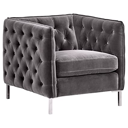 Fabulous Rivet Eva Tufted Mid Century Velvet Down Filled Chair 60 5W Dark Grey Short Links Chair Design For Home Short Linksinfo