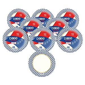 "Dixie Ultra Heavy Duty Paper Plates, 10 1/16"", 176 Count, 8 Packs of 22 Plates, Dinner Size Printed Disposable Plates"