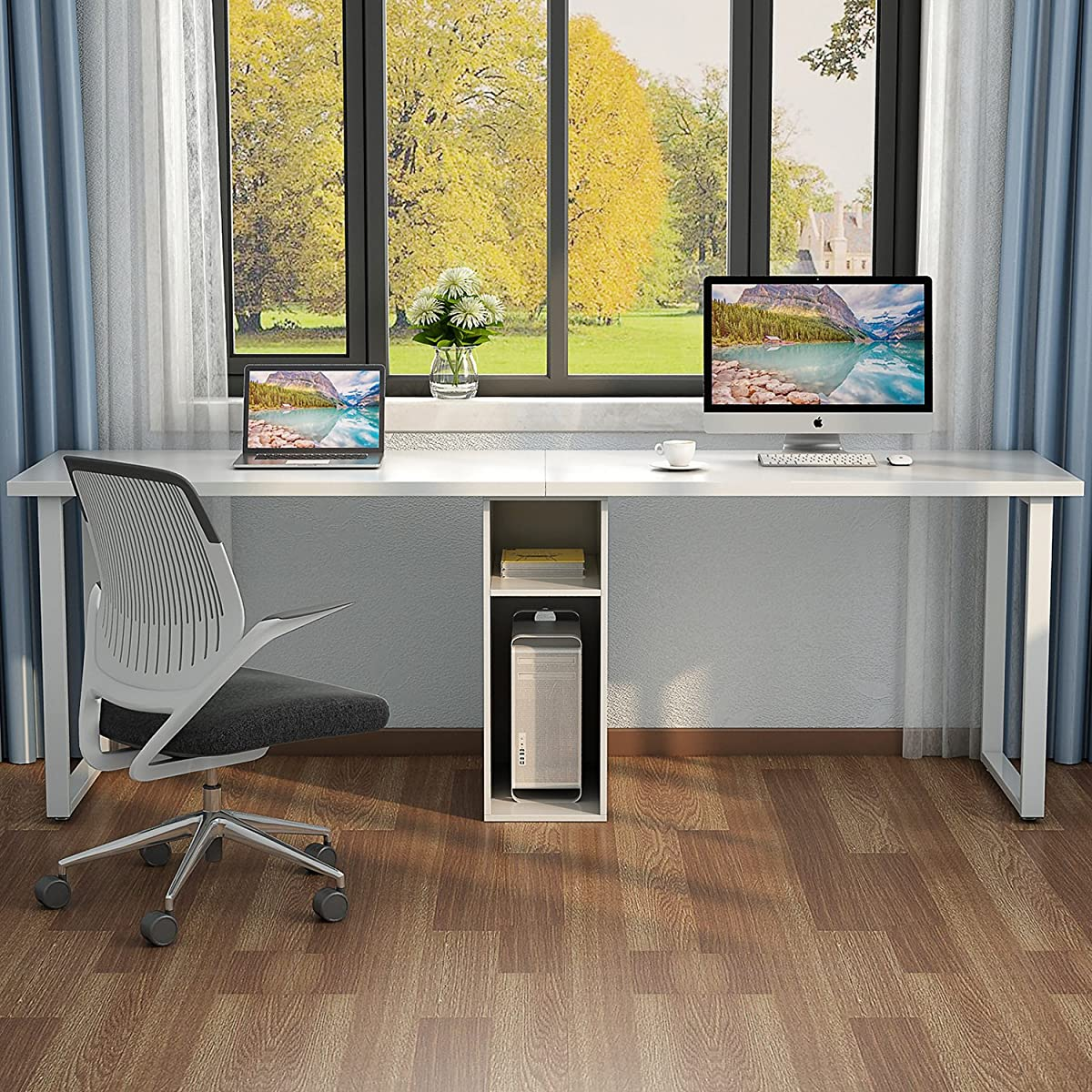 "Little Tree 78"" Extra Large Double Workstation Computer Desk for Two Person, Simple Modern Style Office Desk with Storage (White Finish)"