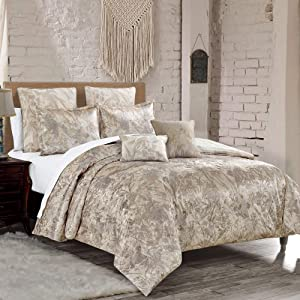 Sapphire Home Luxury 7 Piece Full/Queen Comforter Set with Shams Cushions, Unique Floral Forest Leaves Taupe Shiny, Bed Cover Bed in a Bag, (21985, Queen)