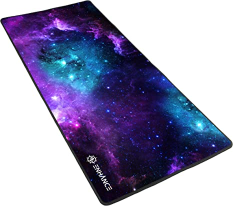 ENHANCE Large Gaming Mousepad Mat with Non-Slip Natural Rubber Base Anti Fray Stitching /& Low Friction Surface Fabric for Smoot