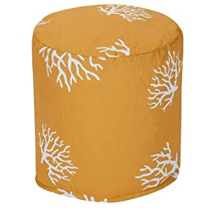 """Majestic Home Goods Yellow Coral Indoor/Outdoor Bean Bag Ottoman Pouf 16"""" L x 16"""" W x 17"""" H"""