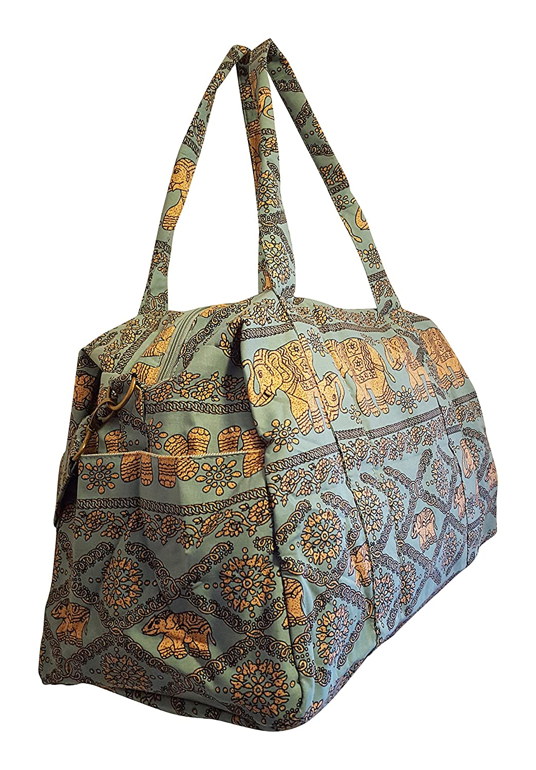 Overnighter Large Travel Duffle Duffel Bag Monogram Personalization Available Sage Green with Gold Elephants Sona G Designs