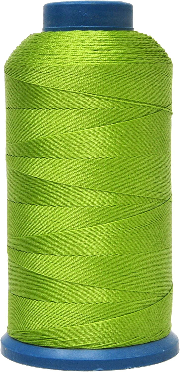 Mandala Crafts Bonded Nylon Thread for Sewing Leather, Upholstery, Jeans and Weaving Hair; Heavy-Duty; 1500 Yards Size 69 T70 (Apple Green)