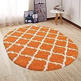 Ottomanson SHG2271-OVAL Trellis Shag rug, Oval, Orange