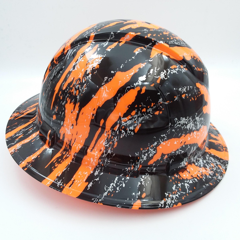 Wet Works Imaging Customized Pyramex Full Brim Hi Vis Orange Urban Camo Hard Hat With Ratcheting Suspension by Wet Works Imaging (Image #3)