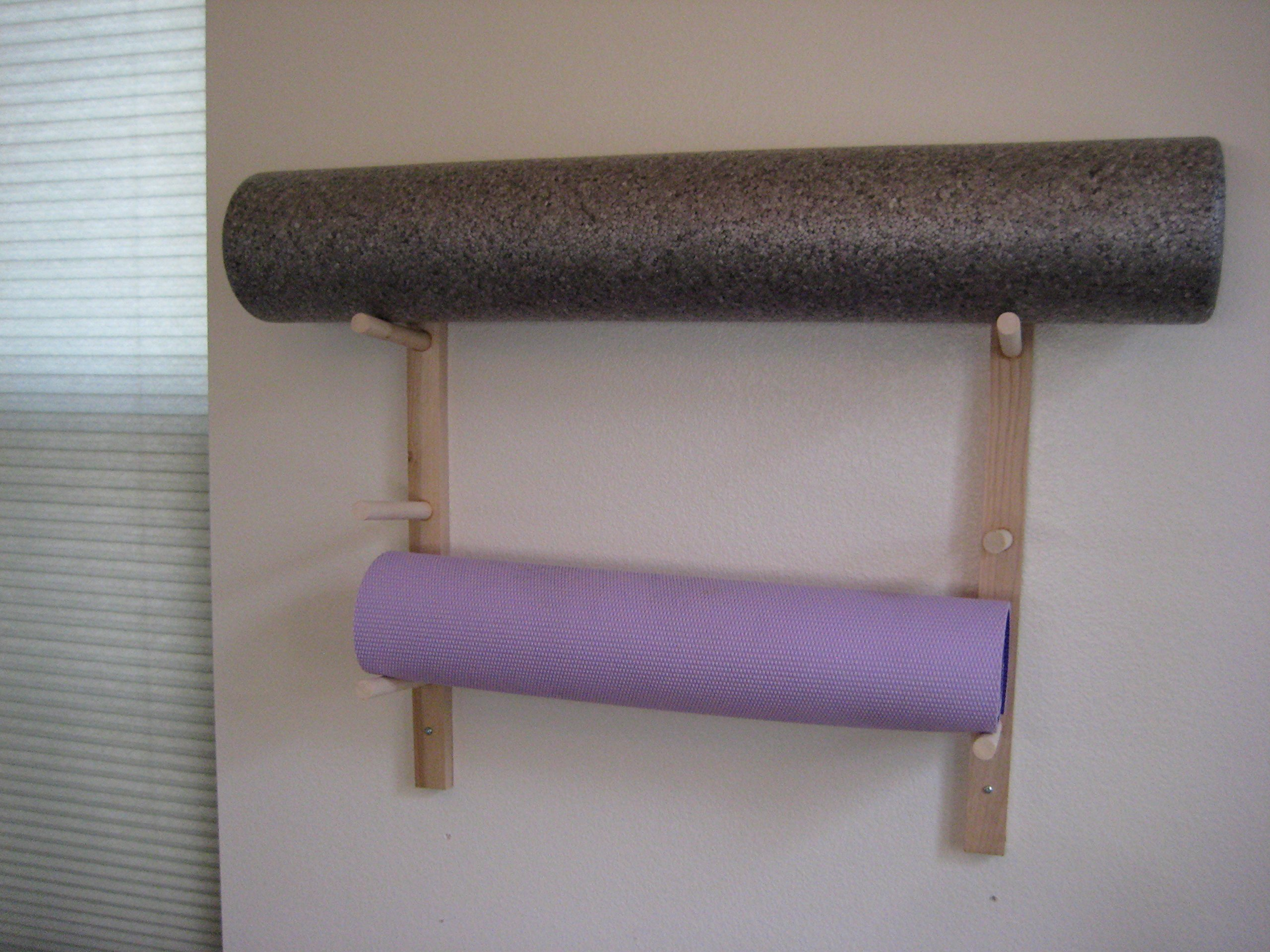 1 Set Foam Roller And Yoga Mat Storage Rack Wall Mount In Sustainable Hardwood 3 6