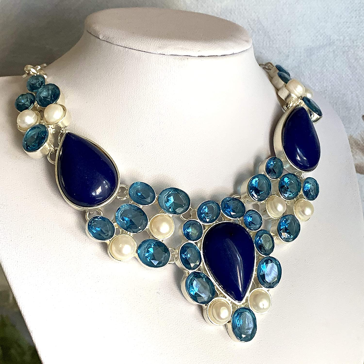 Blue with White Agate Necklace Gemstone Necklace Bib Necklace Silver Necklace Statement Necklace