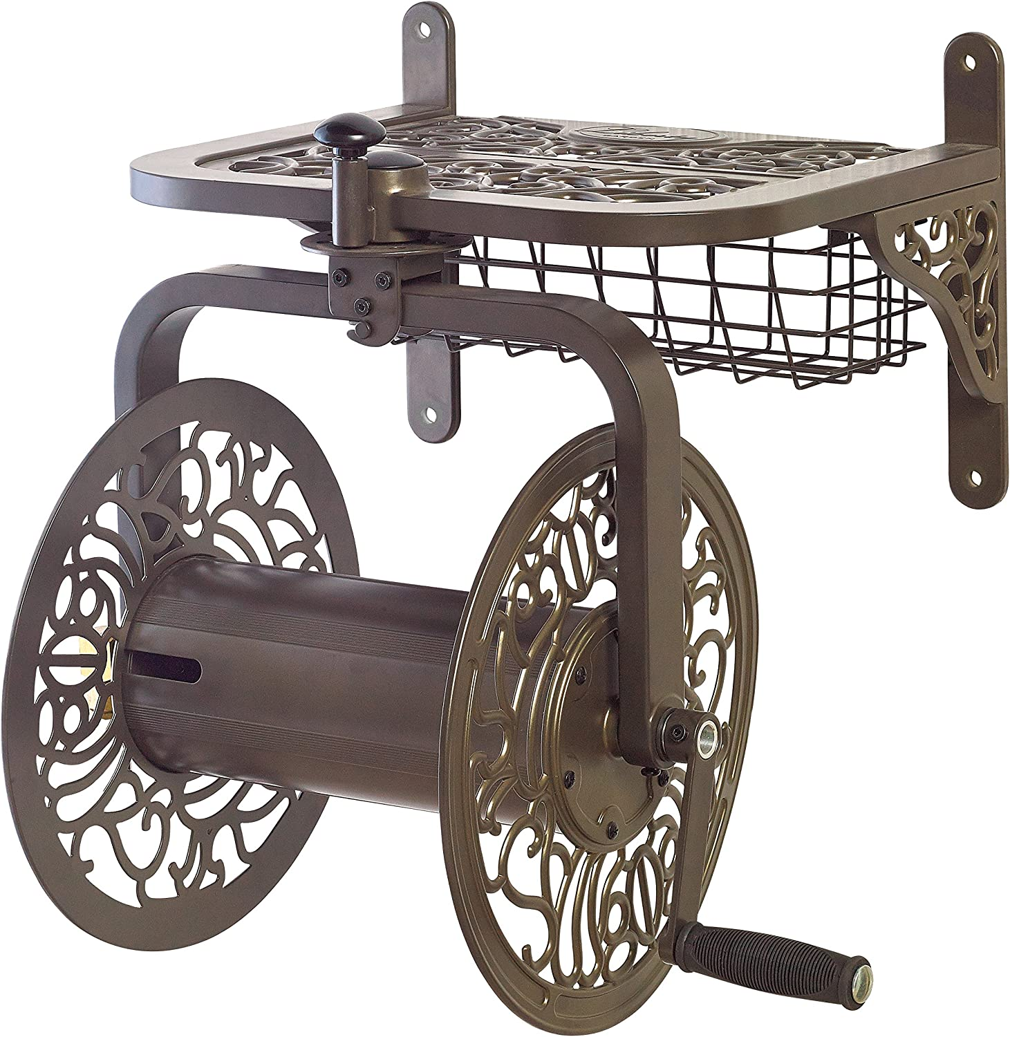 Liberty Garden 714 Decorative Cast Aluminum Navigator Rotating Garden Hose Reel, Holds 125-Feet of 5/8-Inch Hose - Bronze