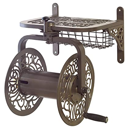 Perfect Liberty Garden Products 714 Decorative Cast Aluminum Navigator Rotating Garden  Hose Reel, Holds 150