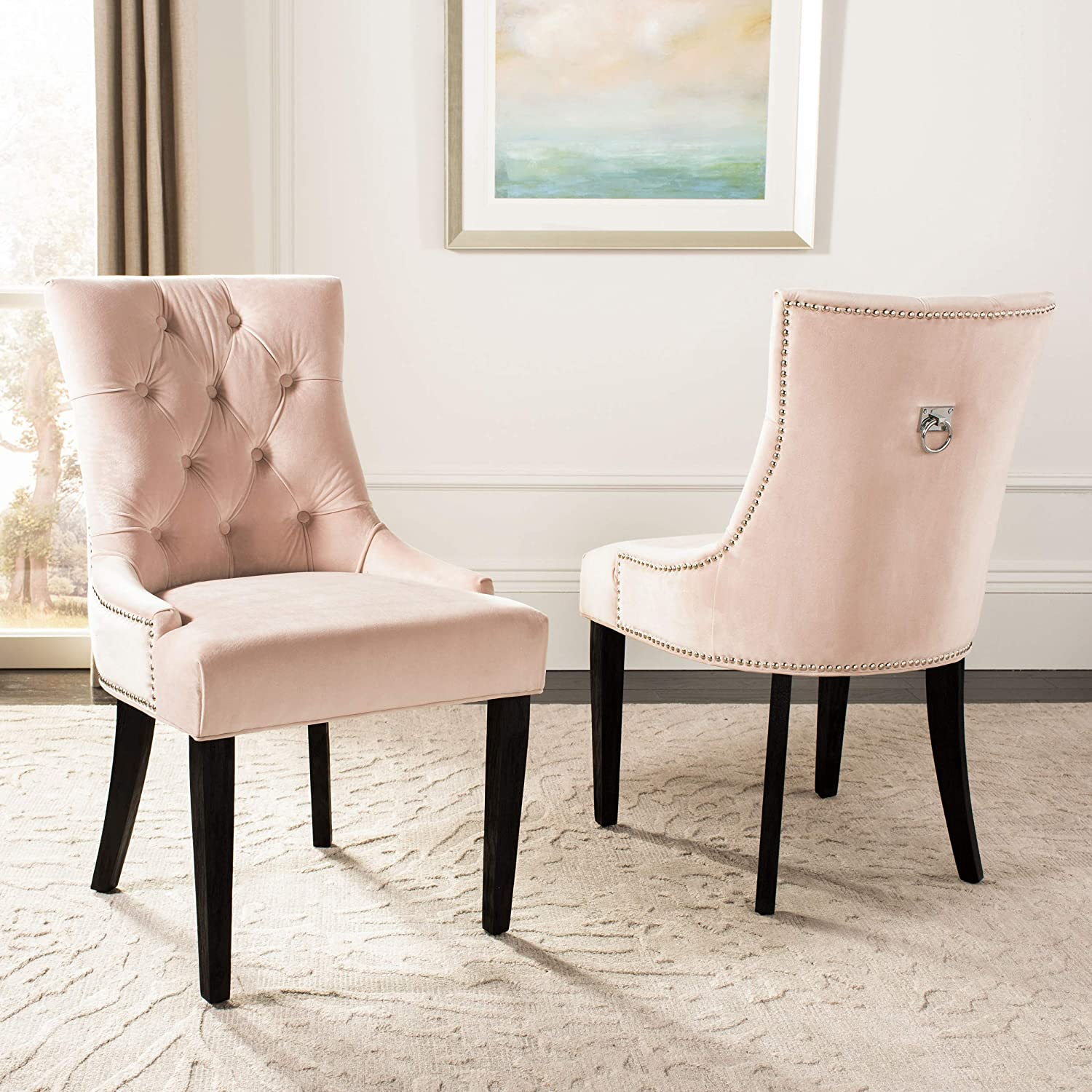 "Safavieh Home Collection Harlow 19"" Blush Pink and Espresso Tufted Ring (Set of 2) Dining Chair,"