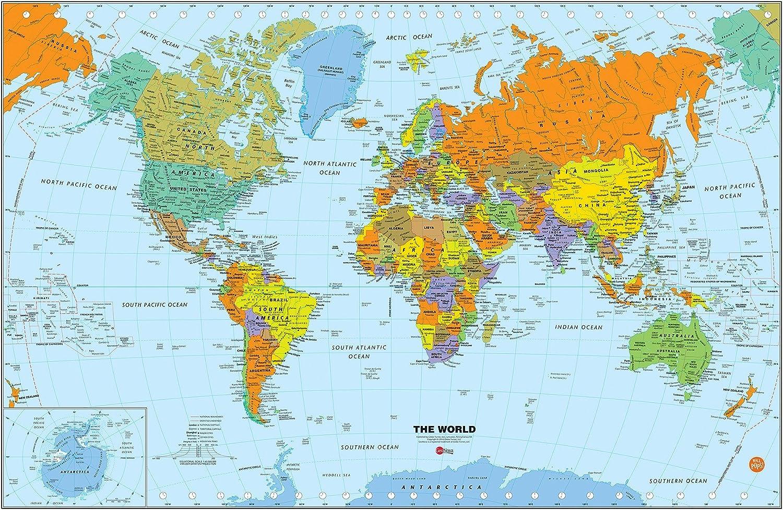 Fine Décor Wallpops wpe1898 pequeño mundo de borrado en seco Mapa para – Multicolor: Amazon.es: Bricolaje y herramientas