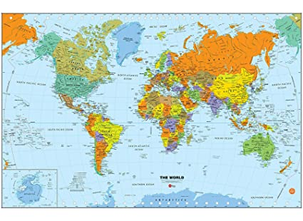 Amazon.com: Wall Pops WPE1898 World Dry Erase Map Decal, Multi-Color ...