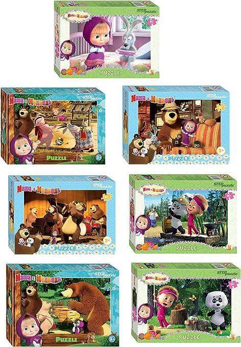 Amazon.com: 4 Mini caja Puzzle contiene 80 artículos Masha y ...