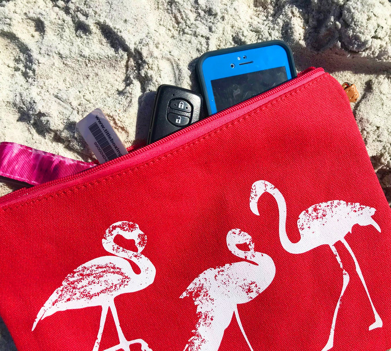 XL Large Cotton Canvas Flamingo Tote & Accessory Bag for Beach, Travel & Every Day by Kodi Lifestyle Collection (Image #4)