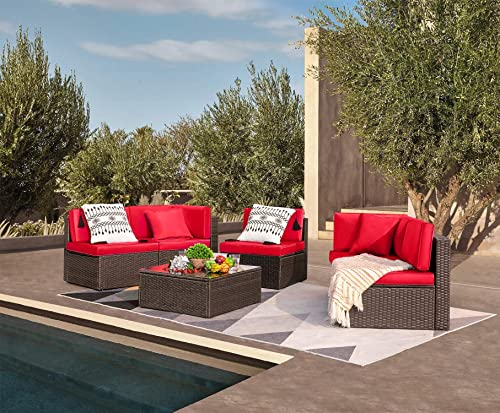 Devoko Patio Furniture Sets 6 Pieces Outdoor Sectional Rattan Sofa Manual Weaving Wicker Patio Conversation Set