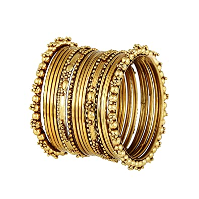 0d4c5dd6636bb Meenaz Antique Look Jewellery Gold Plated Traditional Bracelet Bangles Set  for Women Fancy Stylish Bangles- BA-126 (2.4)  Amazon.in  Jewellery