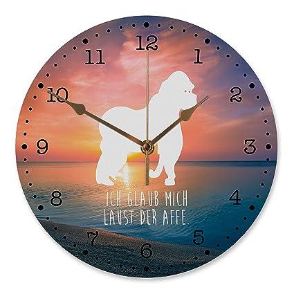 variantes 30 cm Reloj de pared Gorilla MT, Sonnenuntergang mit Spruch