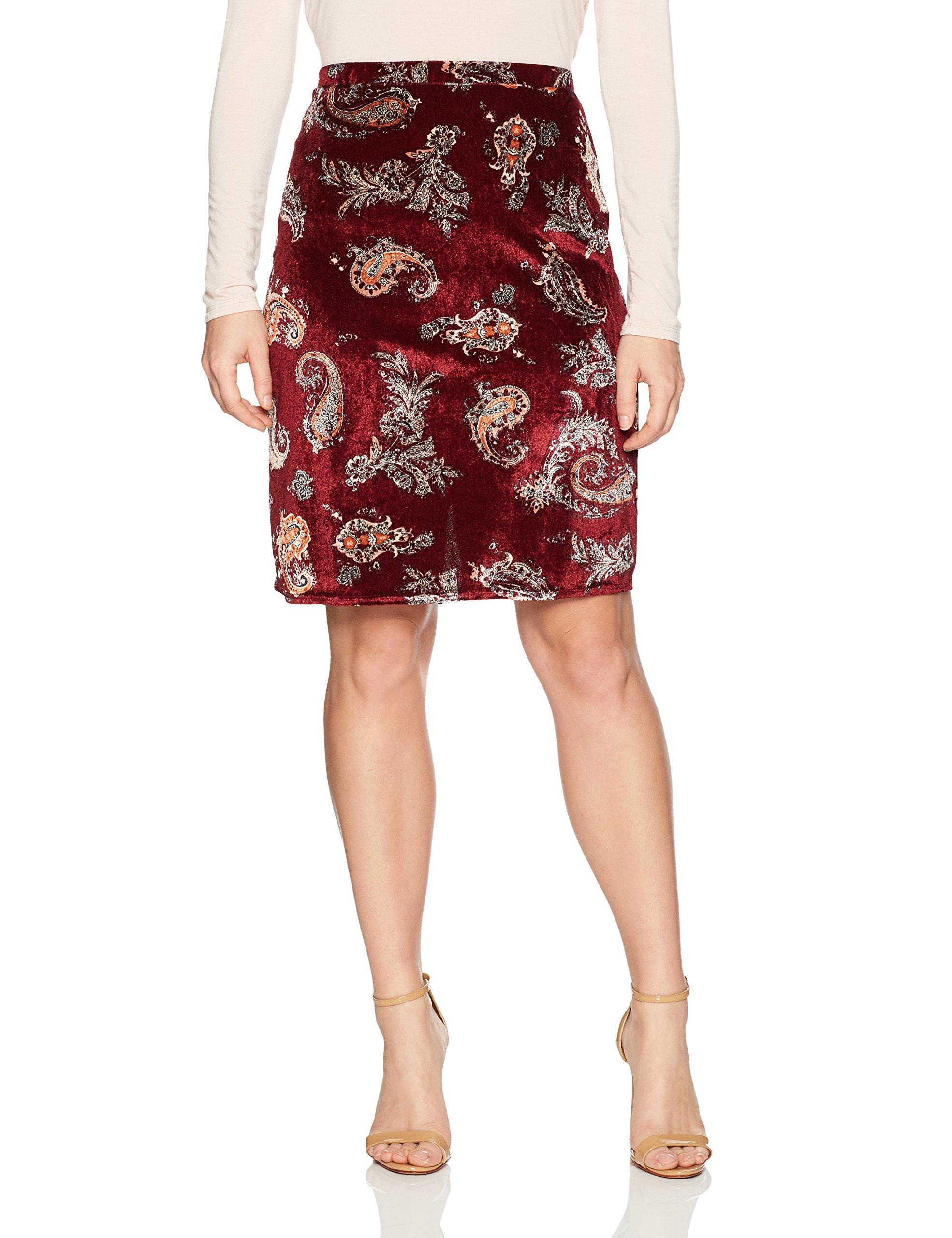 Star Vixen Women's Petite Knee Length Classic Stretch Pencil Skirt, Burgundy Ground Paisley, PL