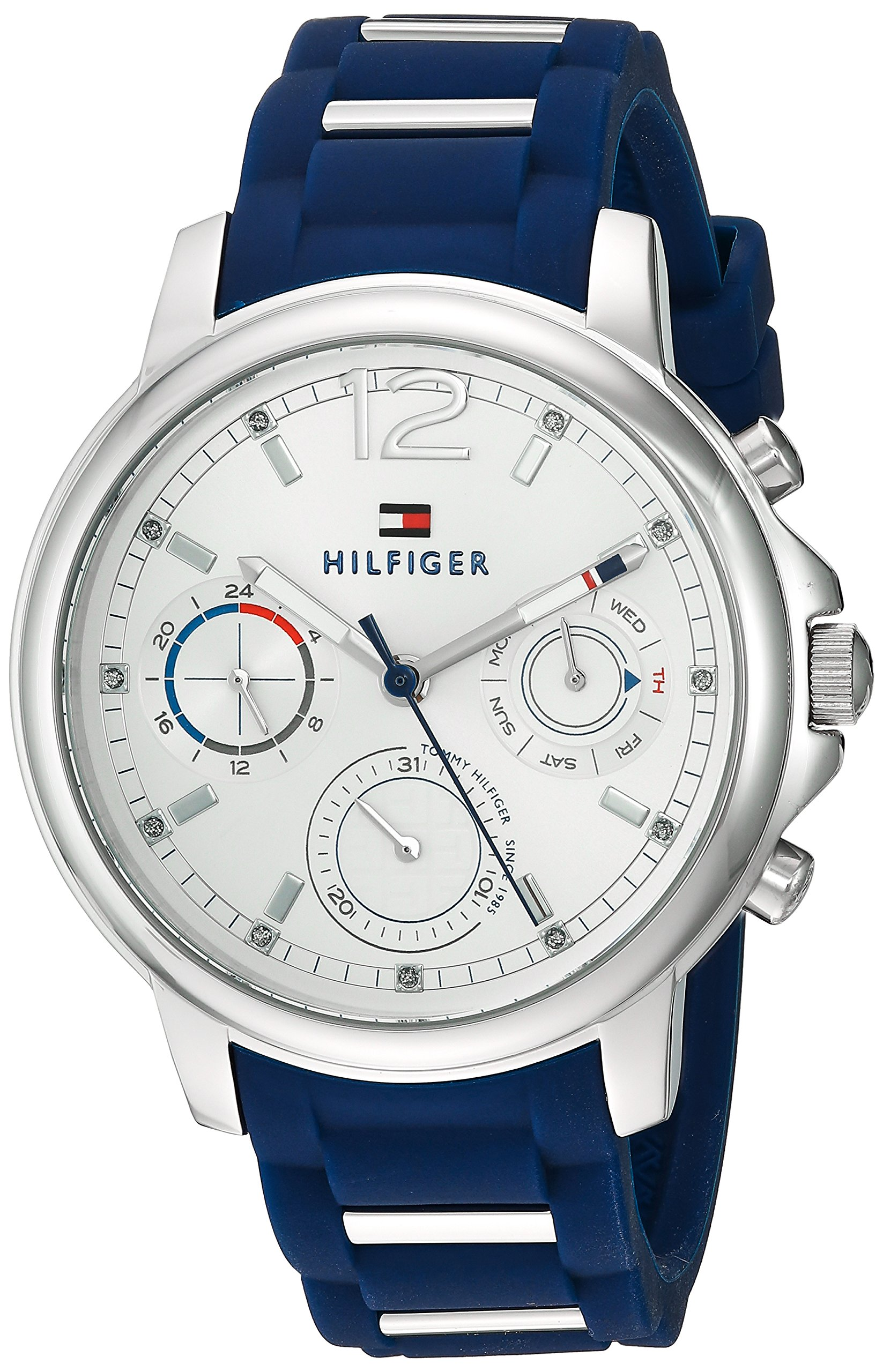 Tommy Hilfiger Women's 'CLAUDIA' Quartz Stainless Steel and Rubber Casual Watch, Color:Blue (Model: 1781746) by Tommy Hilfiger