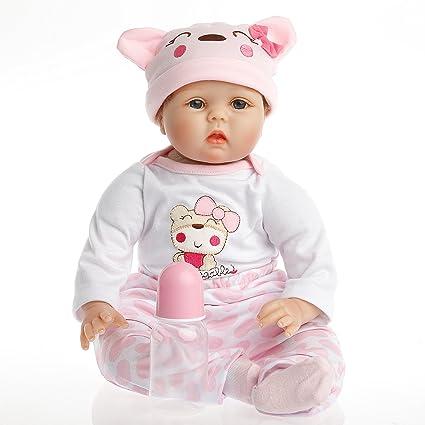 SanyDoll Reborn Doll Baby Newborn 22inch 55cm Magnetic Lifelike Cute Lovely Pink Birthday Gift