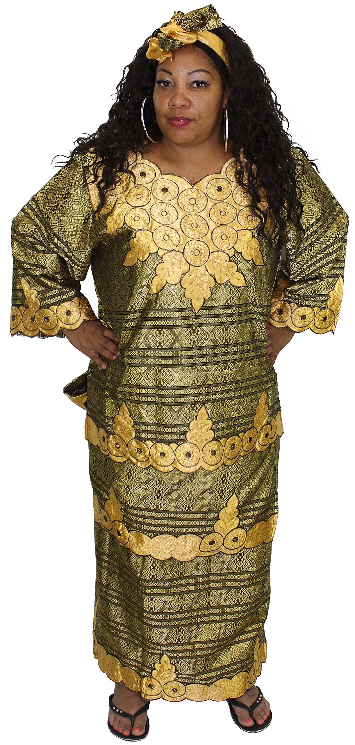 African Planet Women's Nigerian Queen 4 Piece Wrap around Skirt Set (Black Gold)