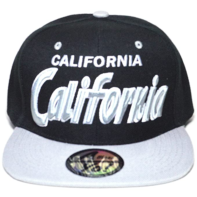 3bf6035be9c Premium California Embroidered Flat Visor Bill Snapback Baseball Cap Hat  AYO3068 (Black Gray)