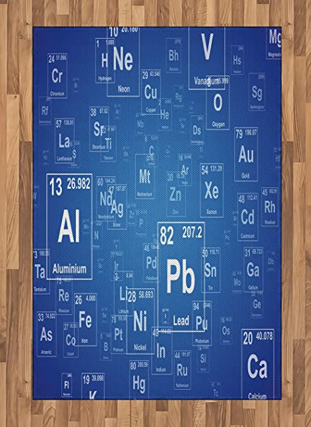 ambesonne science area rug chemistry tv show inspired image with periodic element table image print