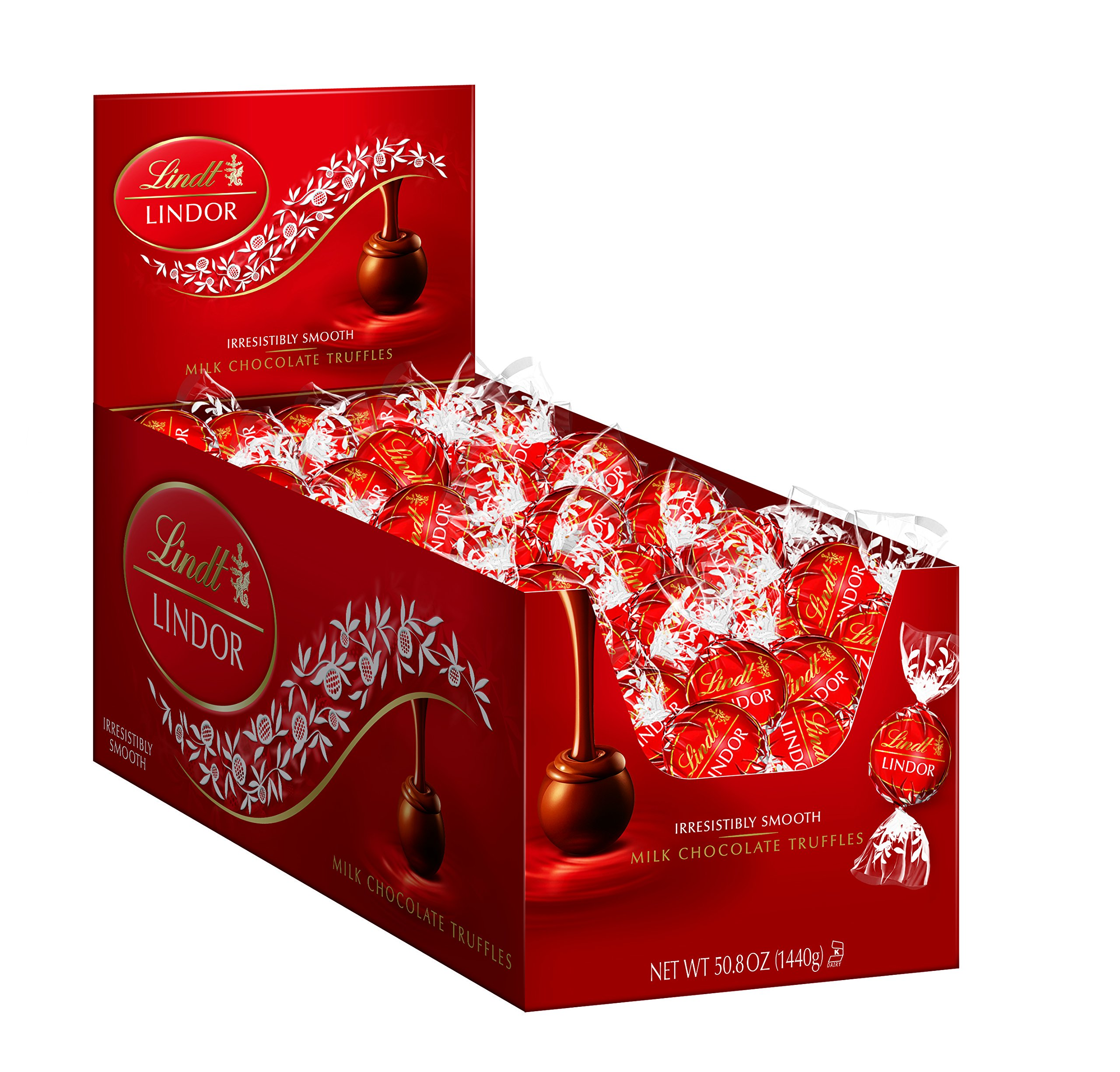Lindt LINDOR Milk Chocolate Truffles, Kosher, 120 Count Box