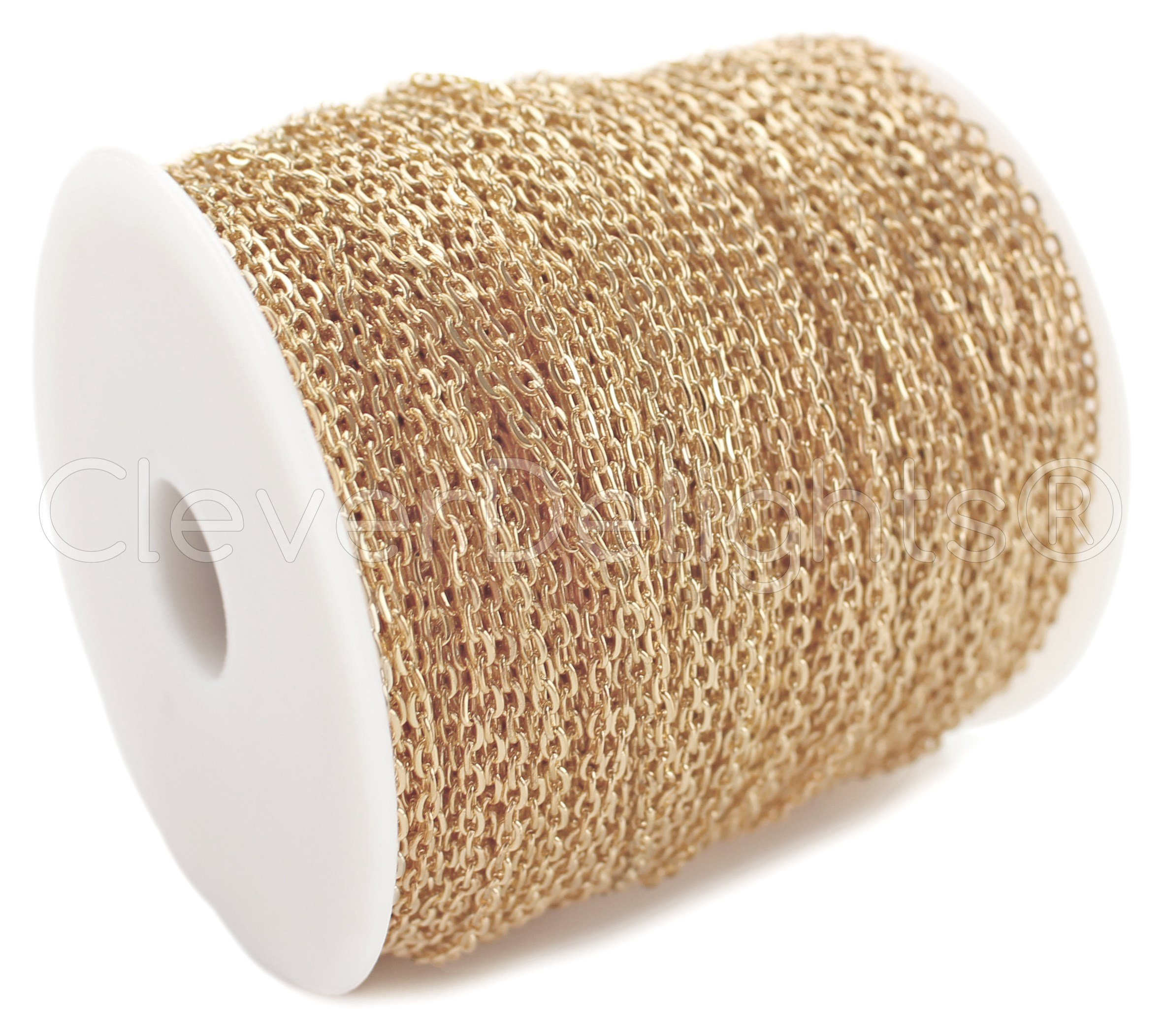 CleverDelights Cable Chain Spool - 330 Feet - Champagne Gold Color - 2x3mm Link - 100 Meters - Bulk Chain by CleverDelights