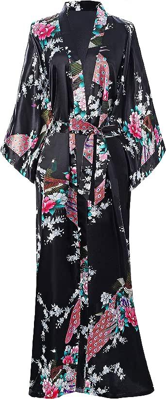 BABEYOND Women's Kimono Robe Long Robes with Peacock and Blossoms Printed Kimono Nightgown