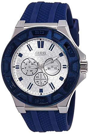 Guess Reloj analogico para Hombre de Cuarzo con Correa en Caucho W0674G4: Amazon.es: Relojes