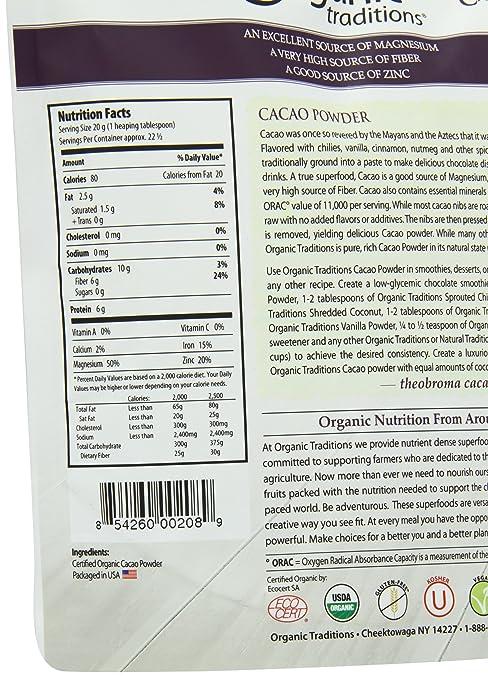 Tradiciones orgánicos Polvo, Cacao Orgánico, 16 onzas ...