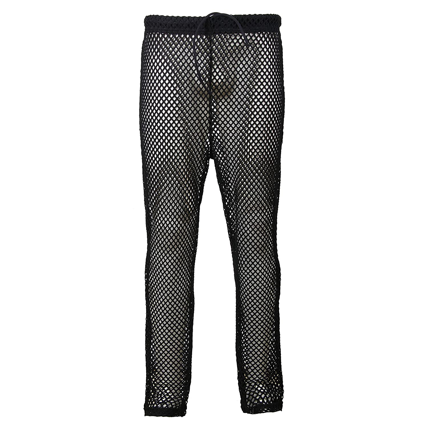 Godsen Mens Mesh See Through Mesh Lounge Pants Nightwear2P (XL,GTM1065-Black) GTM1005