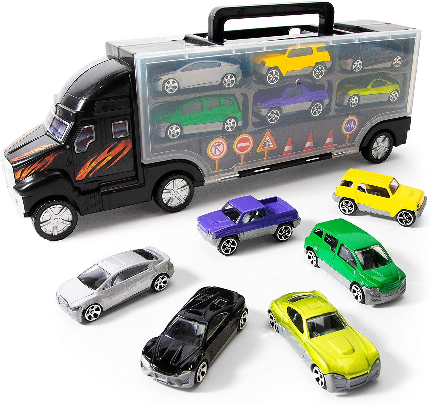 Boley Die Cast Car Truck Carrier - 14 Piece Toy Trucks, Cars, and Traffic Signs Playset for Kids and Toddler Boys and Girls Ages 3 and Up