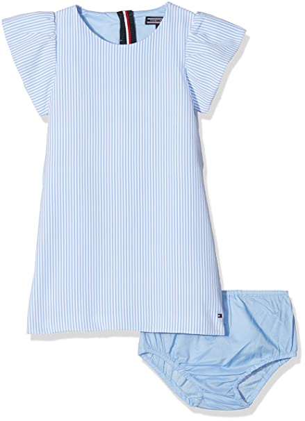 Tommy Hilfiger C Fine Stripe Dress S/s, Vestido para Niñas, Azul (