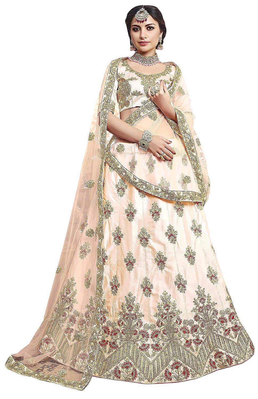 9b52c3a36c MANVAA Women's Silk Embroidered Lehenga Choli (MHY29705, Light Peach, 44):  Amazon.in: Clothing & Accessories