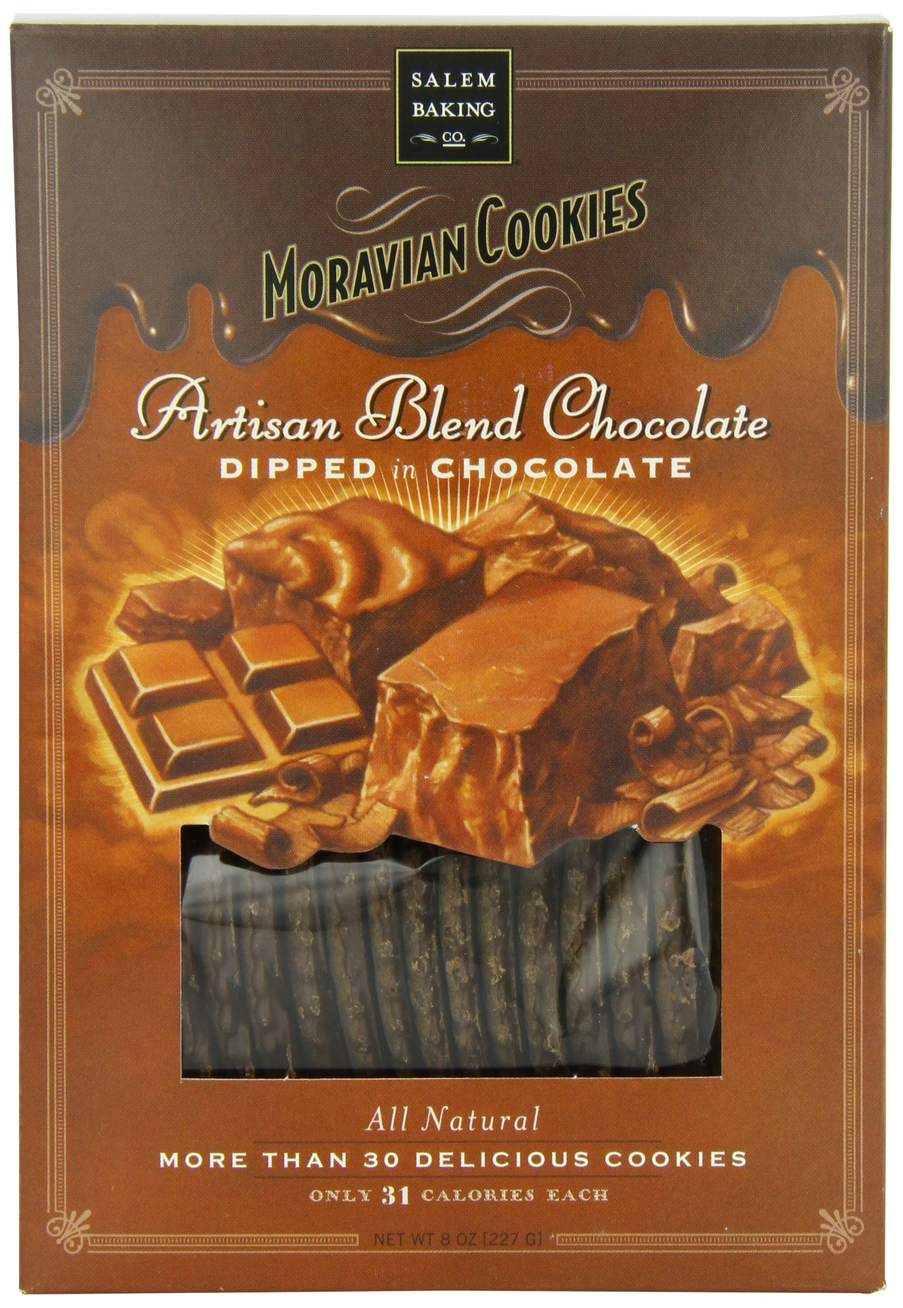 Salem Baking Moravian Cookies, Chocolate Dipped in Chocolate, 8 Ounce
